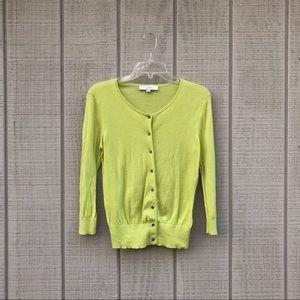 LOFT chartreuse springy green yellow cardigan, S